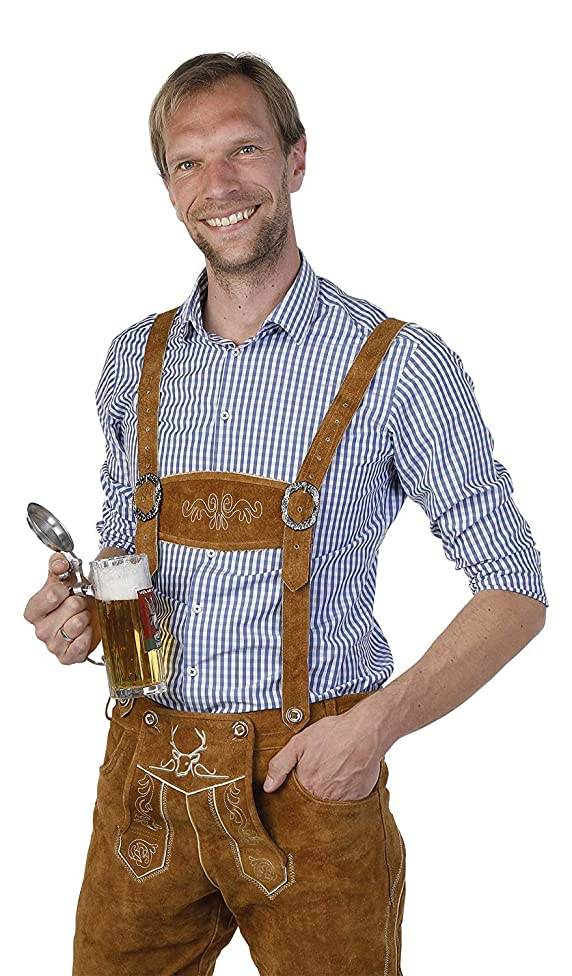 Lederhosen Men - The Original from Germany - Authentic German Oktoberfest Outfit/Costume - Real Leather