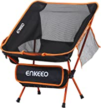 ENKEEO Camping Chair Folding Portable Mesh Picnic Seat with Backrest, Pocket and Carry Bag, for Fishing, Hiking, Picnic and Travel (Black)