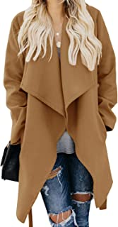 Womens Lapel Open Front Wrap Coat Casual Long Sleeve Winter Fall Warm Wool Blend Overcoat Outwear