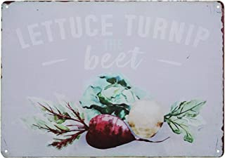 TISOSO Tin Signs Designs Lettuce Turnip Beet Funny Retro Vintage Bar Sign Country Home Decor Beer Alcohol Free Drinks Cafe Wall Art Poster 8X12Inch