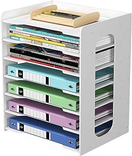 PUNCIA 7 Tier Office Paper Organizer for Desk Desktop File Holder Desk Letter Tray & A4 Paper Holder Document Storage Rack...
