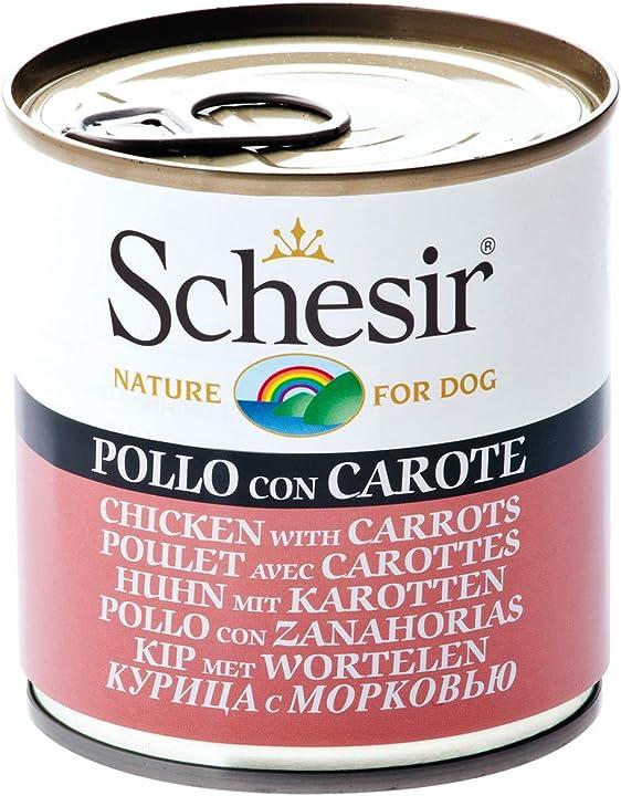 Cibo umido per cani adulti al gusto pollo con carote4,56 kg (16 lattine da 285g) schesir 8005852280015