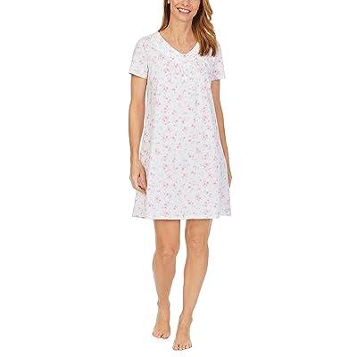 Carole Hochman Soft Jersey Short Sleeve Sleepshirt (Small Pink Floral) Women