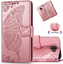 MRSTERUS Samsung Galaxy J2 Core Flip Embossed Leather Wallet Cases with Protective Detachable Slim Case, Flower Butterfly Design with Card Slots, Case for Samsung Galaxy J2 Core (Rose Gold) SD