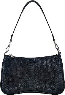 OUTTUO Umhängetasche, Damen Schultertasche, Retro Achsel Tasche,Damen Vintage Schulter Handtasche Kunstleder-Schwarz
