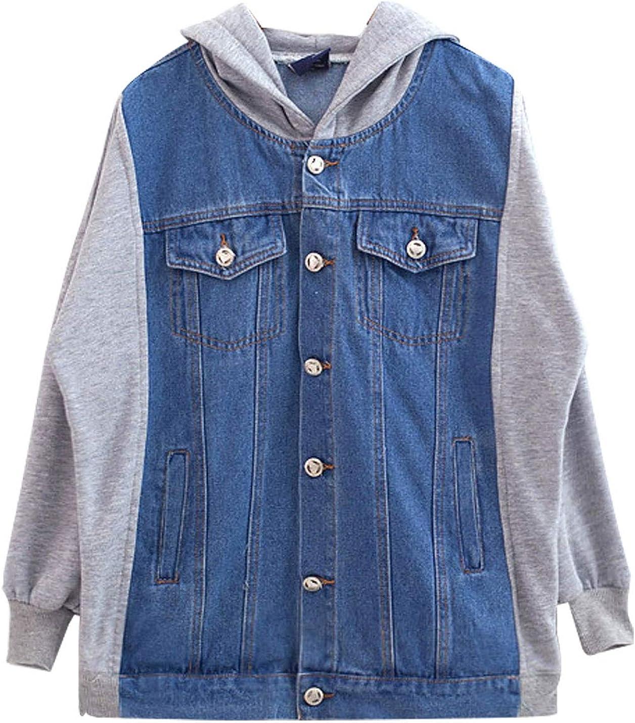 Omoone Women's Long Sleeve Hooded Loose Jean Patchwork Denim Jacket Coats