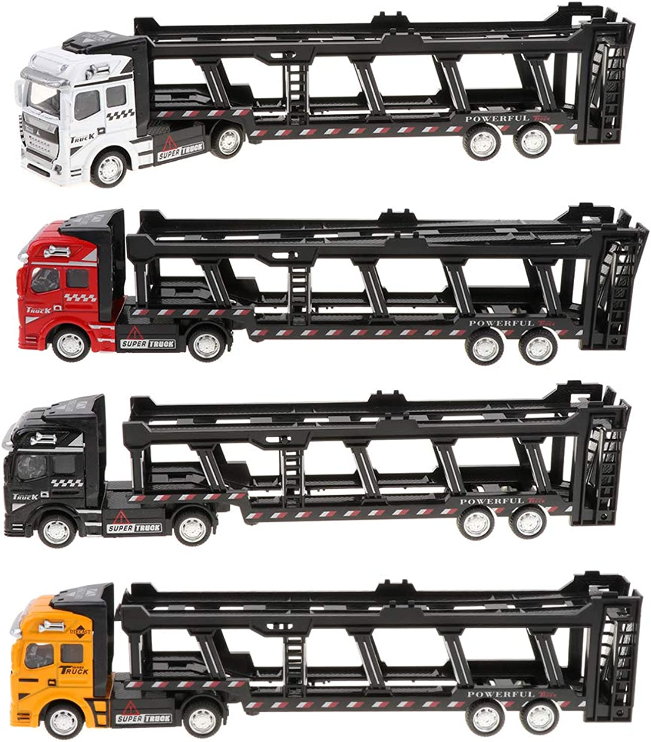 SM SunniMix 4 Pieces 1 50 Simulation Alloy Pull Back Construction Trailer Truck Vehicles Toy for Kids Toddlers DIY Play Kits