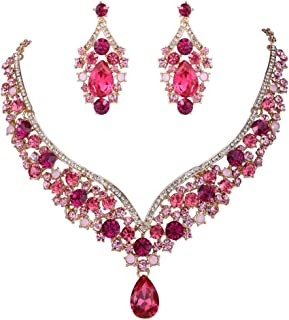 Austrian Crystal Elegant V-Shaped Teardrop Necklace Earrings Set