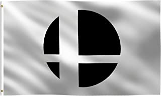 K-AXIS 3x5 Foot Super Smash Bros. Inspired Flag: 100% Polyester Banner, Strong Canvas Header with 2 Brass Grommets, UV Resistant Vibrant Digital Print, for Use Outdoor or Indoor (White)