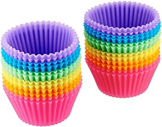 U-HOOME Reusable Silicone Baking Cups,Mini Muffin Pan and Cupcake Molds, Pack of 24 in 6 Colors