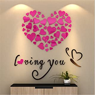 Dormery 5 Size Colorful Love Heart 3D Acrylic Decoration Wall Sticker DIY Art Wall Poster Home Decor Bedroom Bathroom Wallstick Rose Red 80x80cm