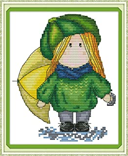 Full Range of Embroidery Starter Kits Stamped Cross Stitch Kits Beginners for DIY Embroidery (Multiple Pattern Designs) - Magic Doll
