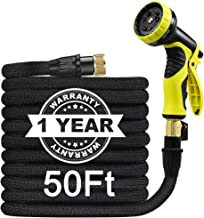 Garden Hose 50ft Lightweight Expandable No Kink Water Hose with 9 Function Spray Nozzle, USA Standard Solid Brass Fittings with Double Latex Core and a Free Storage Bag Best for Outdoor Watering 2019