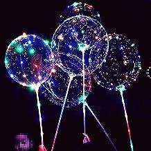 LED Light Up Bobo Balloons,8 Packs Flashing Handles,20 Inches Bubble Bobo Balloons,70 cm Sticks,Christmas Birthday Party Decoration