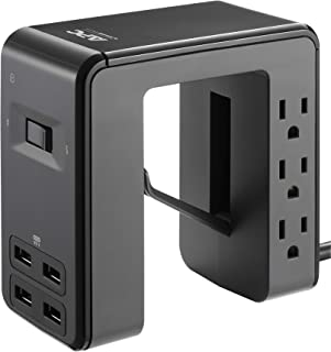 APC Desk Mount Power Station PE6U4, U-Shaped Surge Protector with USB Ports (4), Desk Clamp, 6 Outlet, 1080 Joules