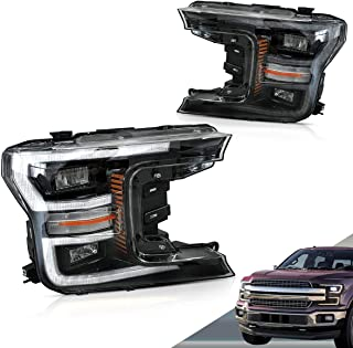 VLAND LED Headlights for Ford F150 2018 2019 with Sequential Turn Signal (Not Fit 2018 Raptor), Black YAA-F150-2042