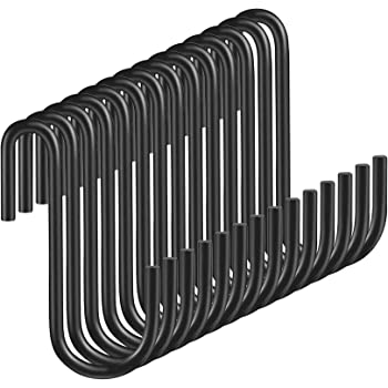 Yesland 60 Packs S Hooks, Black S Shaped Hooks Hanging Hangers Pan Pot Holder, Perfect Rack Hooks for Pan, Pot, Coat, Bag, Plants in Kitchen, Work Shop, Bathroom,Bedroom & Garden