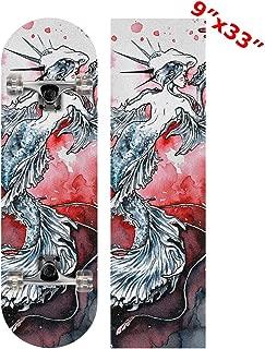 Anneunique Custom Watercolor Mermaid Red Skateboard Grip Tape Sheet 9