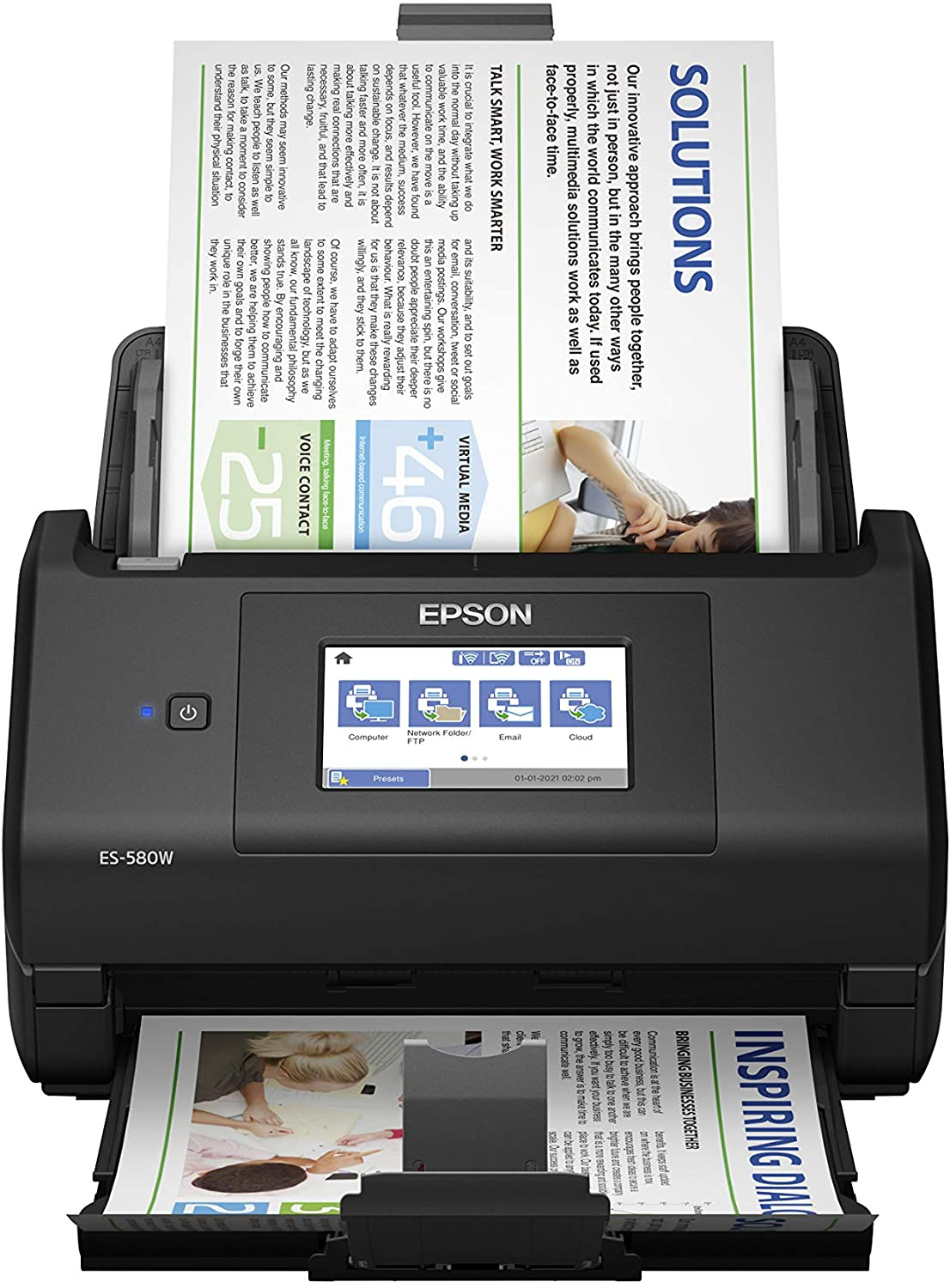 Epson Workforce ES-580W Wireless Color Duplex Desktop Document Scanner for PC and Mac with 100-sheet Auto Document Feeder (ADF) and Intuitive 4.3