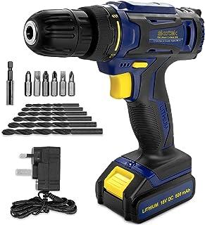 Skotek 13Pc Cordless Drill Driver 18V/20V-Max Lithium-Ion Combi Drill, Electric Screwdriver, Accessory Kit, LED Work Ligh...
