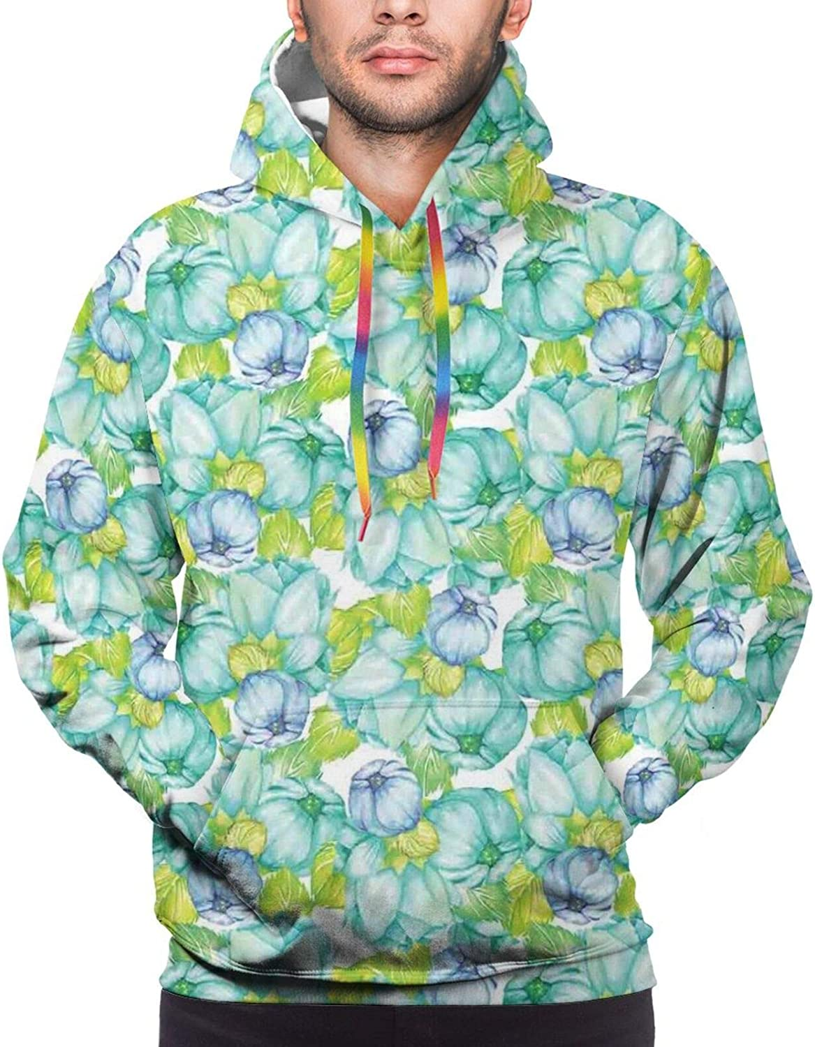 Men's Hoodies Sweatshirts,Blooming Dog Roses with Leafy Stems Art Nouveau Inspirations