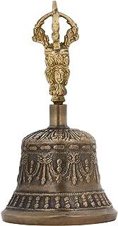 Purpledip Spiritual Buddhist Tibetan Brass Bell with Dorje Handle for Self Healing Meditation Prayer and Yoga Religious Gi...