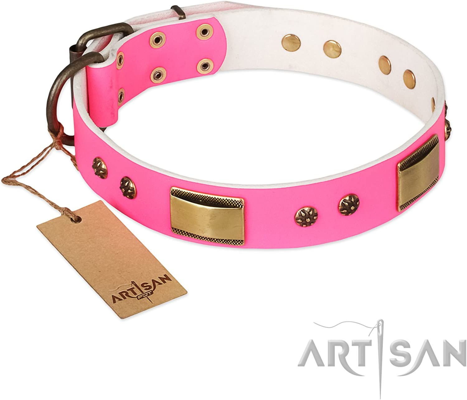 FDT Artisan 29 inch Pink Leather Dog Collar with Brass Plates and Studs Vintage Subtlety  Exclusive Handcrafted Item  1 1 2 inch (40 mm) Wide  Gift Box Included