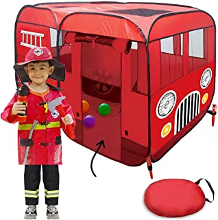 Big Fire Truck Tent (Without Step) Spacious Playhouse for Kids, Toddlers, Boys, Girls and Children – This Pop Up Play Tent...