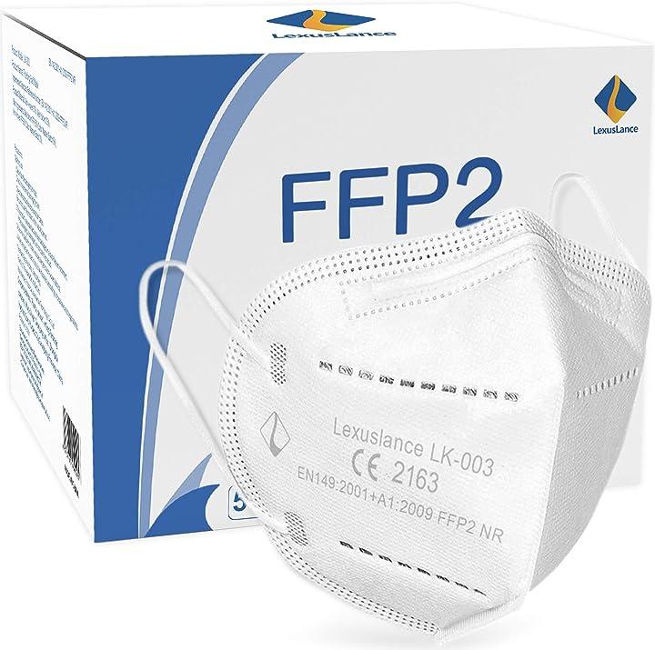Mascherine ffp2 certificate ce europa filtrazione  95% sigillate in comode bustine tascabili -50 pezzi LK-003.FFP2