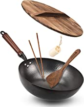 """Bielmeier Wok Pan 12.5"""", Woks and Stir Fry Pans with lid, Carbon Steel Wok with Cookware Accessories, Wok with Lid Suits f..."""