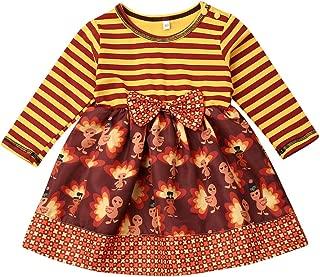 Nokpsedcb Thanksgiving Days Toddler Kids Girls Cute Turkey Stripe Party Tutu Princess Mini Dress Outfits Clothes