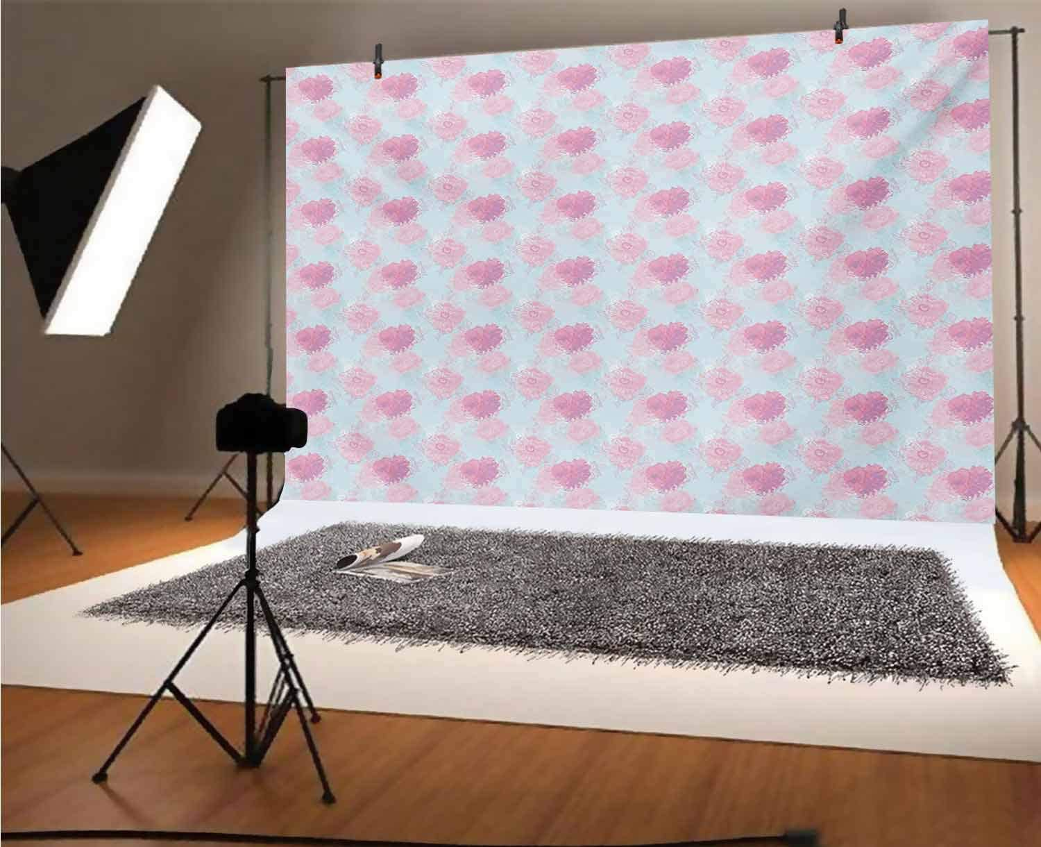 Peach 10x6.5 FT Vinyl Photo Backdrops,Rose Flowers Leaves Buds Natural Themed Image Soft Toned Abstract Background Background for Child Baby Shower Photo Studio Prop Photobooth Photoshoot
