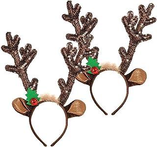 FEE-ZC Christmas Reindeer Headband,2pcs Reindeer Antlers Christmas Headband with Reflective Sequins,Christmas Antlers Head...
