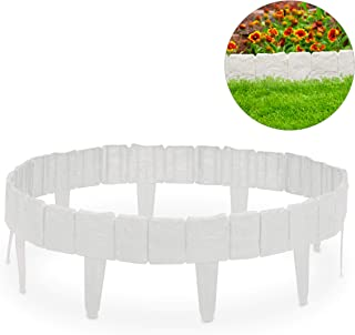 Relaxdays, Blanco Valla de jardín Decorativa, Set de 10