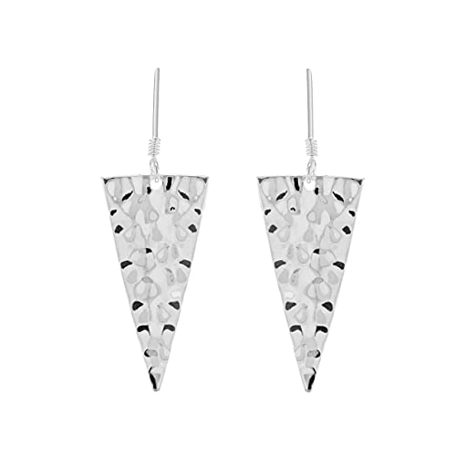 4aeea828a Tuscany Silver Sterling Silver Hammered Triangle Drop Earrings