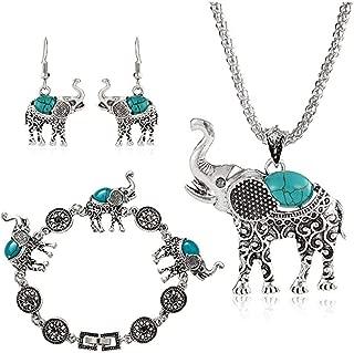 Elephant Boho Jewelry Sets, Boho Pendant Necklace Drop Earrings Link Bracelet Jewelry Sets for Women