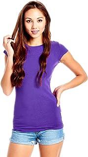 Bozzolo Women Ladies Roundneck Cap Sleeves Top (l, Purple)