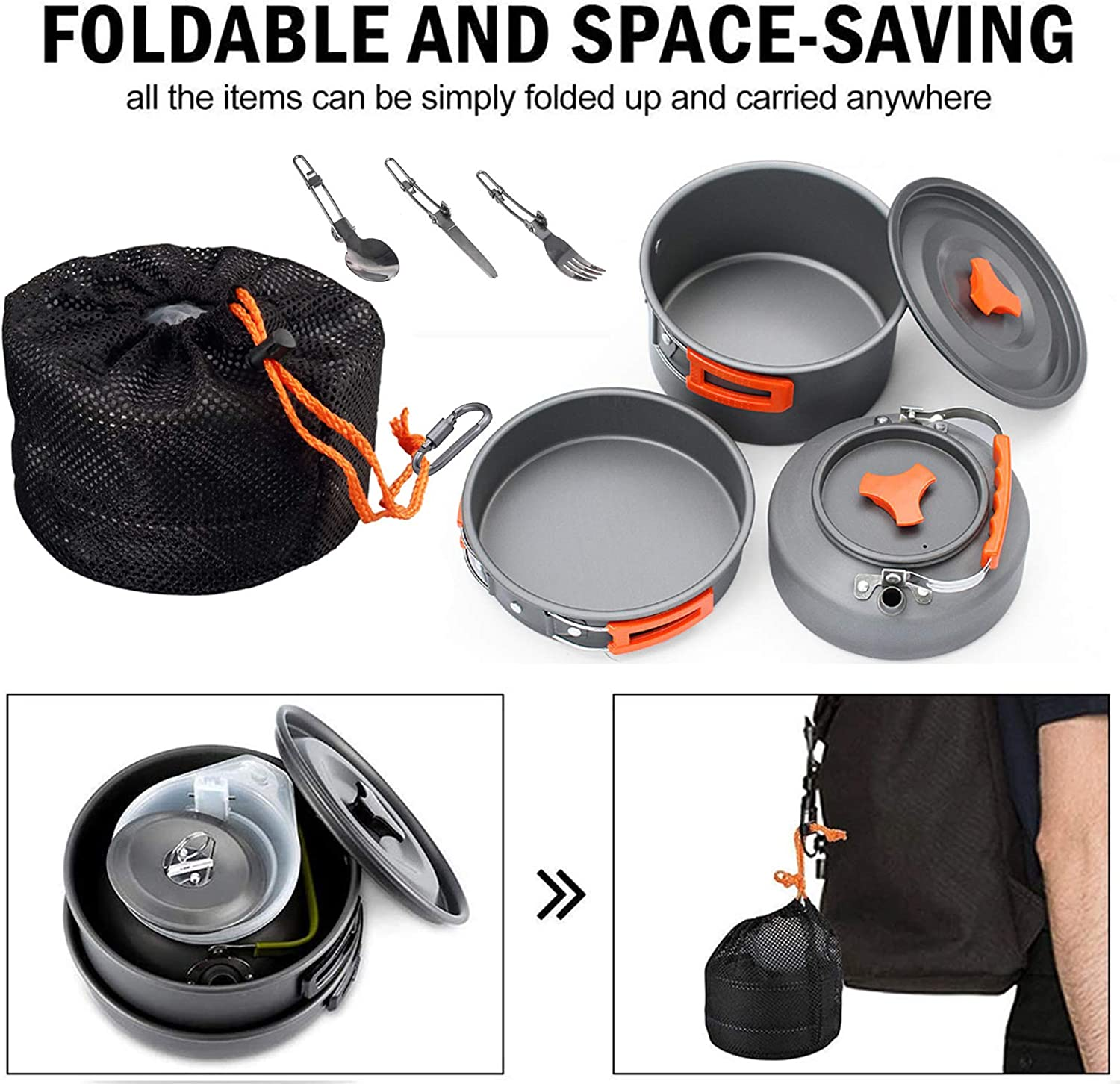 AXONG Portable Camping Cookware Mess Kit for 2 to 3 Person 10pcs Cooking Set for Hiking and Picnic