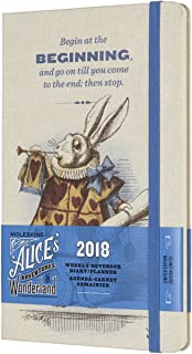 Moleskine Limited Edition Alice in Wonderland, 12 Month Weekly Planner, Large, Almond White (5 x 8.25)