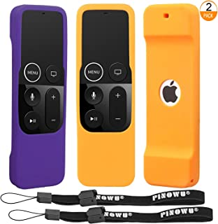 [2 Pack] Remote Cover Case Compatible for Apple TV 4th 5th Generation - Light Weight [Anti Slip] Shockproof Silicone Remote Sleeve for TV 4th 5th Siri Remote Controller with Lanyard (Orange+Purple)