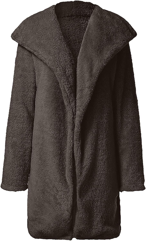 Long Coats for Women Warm Artificial Soft Wool Lapel Coat Jacket Winter Faux Fur Rolls Wool Outerwear