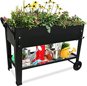 aboxoo Planter Raised Beds with Legs Outdoor Elevated Garden Planter Box On Wheels for Vegetables Flower Herb Patio (23