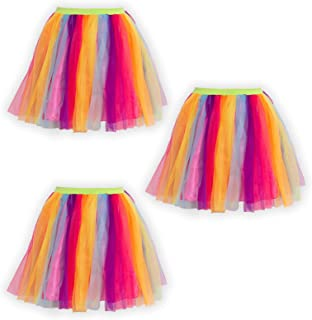 Tigerdoe Rainbow Tutu's - 3 Pack Multicolored Tulle Tutu - 80s Accessories - 80s Clothes for Women - Tutus for Women
