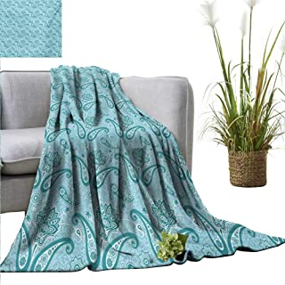AndyTours Faux Fur Throw Blanket,Paisley,Mehndi Style Sacred Authentic Hippie Persian Flowers Traditional Print,Pale Blue and Teal,Soft Fabric for Couch Sofa Easy Care 30
