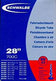 Schwalbe SV17 Bicycle Tube with Presta Valve 37-622 mm 28 x 1 3/8 x 1 5/8, 28 x 1.40 700C by Schwalbe