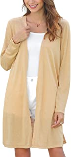 Woolicity Women Cardigan Long Open Front Lightweight Cardigan Split Side Summer Casual Soft Cardigans Long Sleeves Cover Up