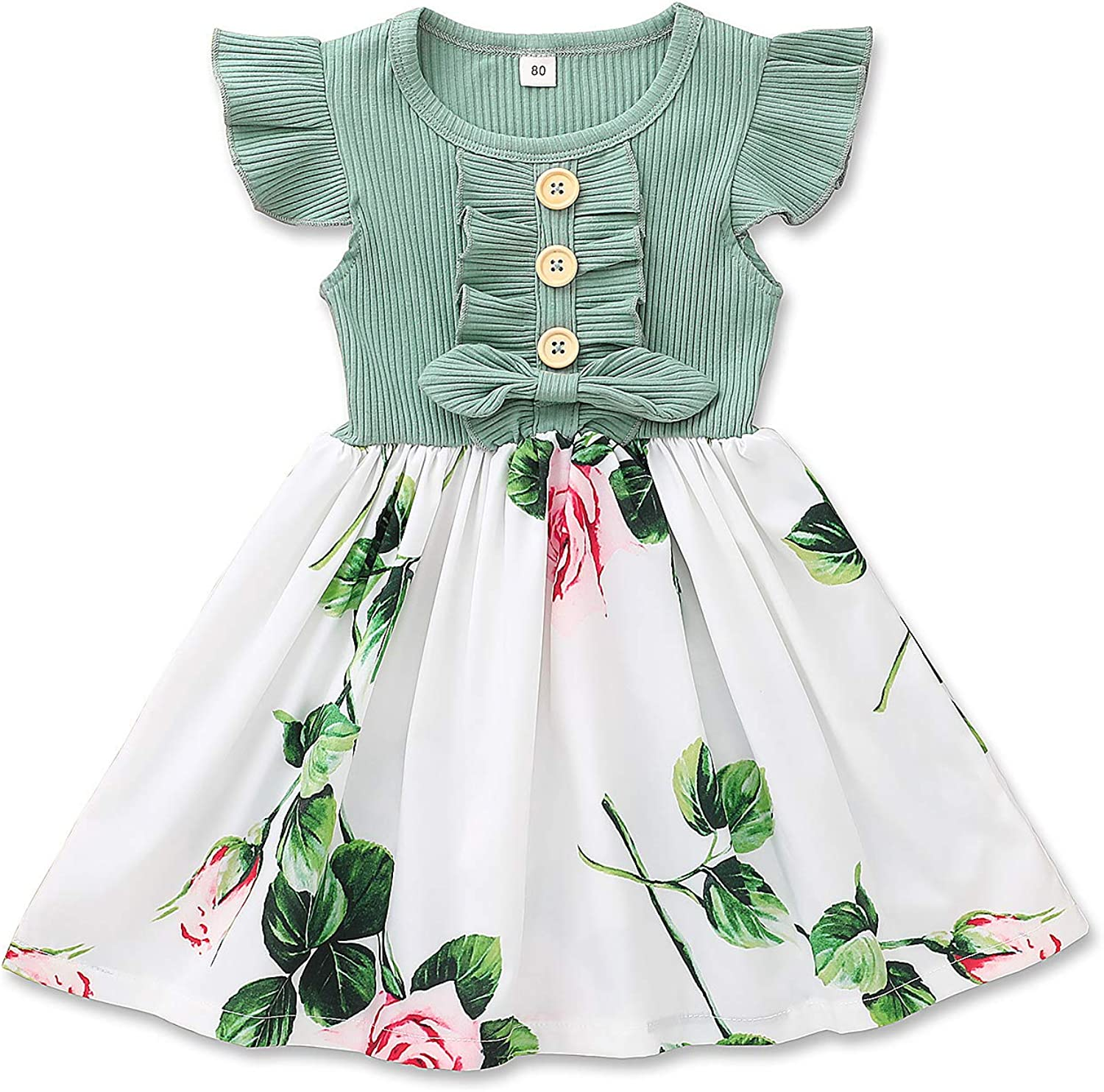 Toddler Infant quality assurance Baby famous Girl Dress Sleeve Floral Dresses Ruffle