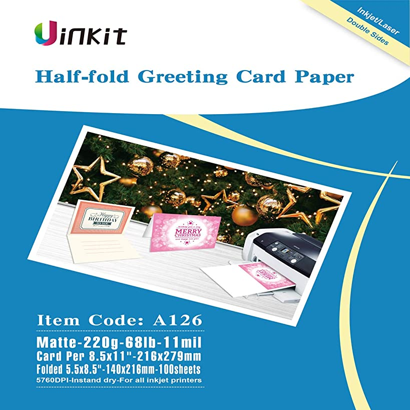 Half Folding Greeting Card Paper - 100sheets 5.5x8.5 When Folded Double sides Matt Inkjet Paper Photo Paper