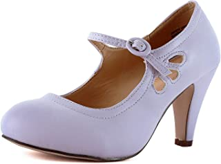 724a6aa76c6e Womens Vintage Mary Jane Pumps Low Kitten Heels Retro Round Toe Shoe with  Ankle Strap