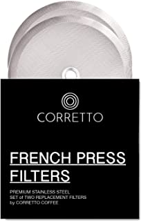 2 Universal French Press Replacement Filters for 8-Cup 34oz by Corretto Coffee - 2 Fine-Weave Stainless Steel Screen for Bodum, Kona and Most 8-Cup French Press - 4 Inches Wide
